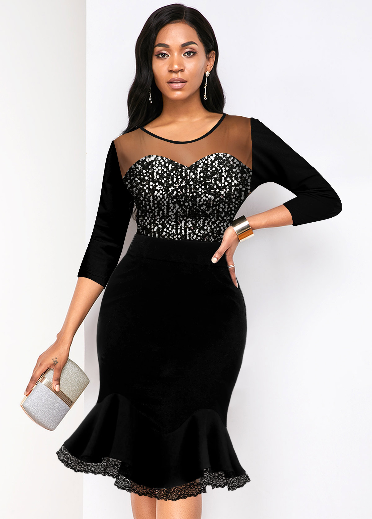 Round Neck Sequin Detail Mesh Panel Mermaid Dress