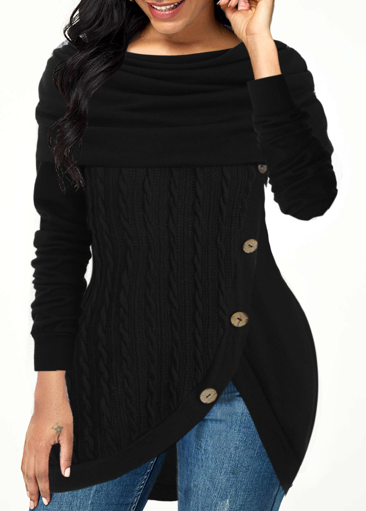 Tulip Hem Cowl Neck Inclined Button Sweater