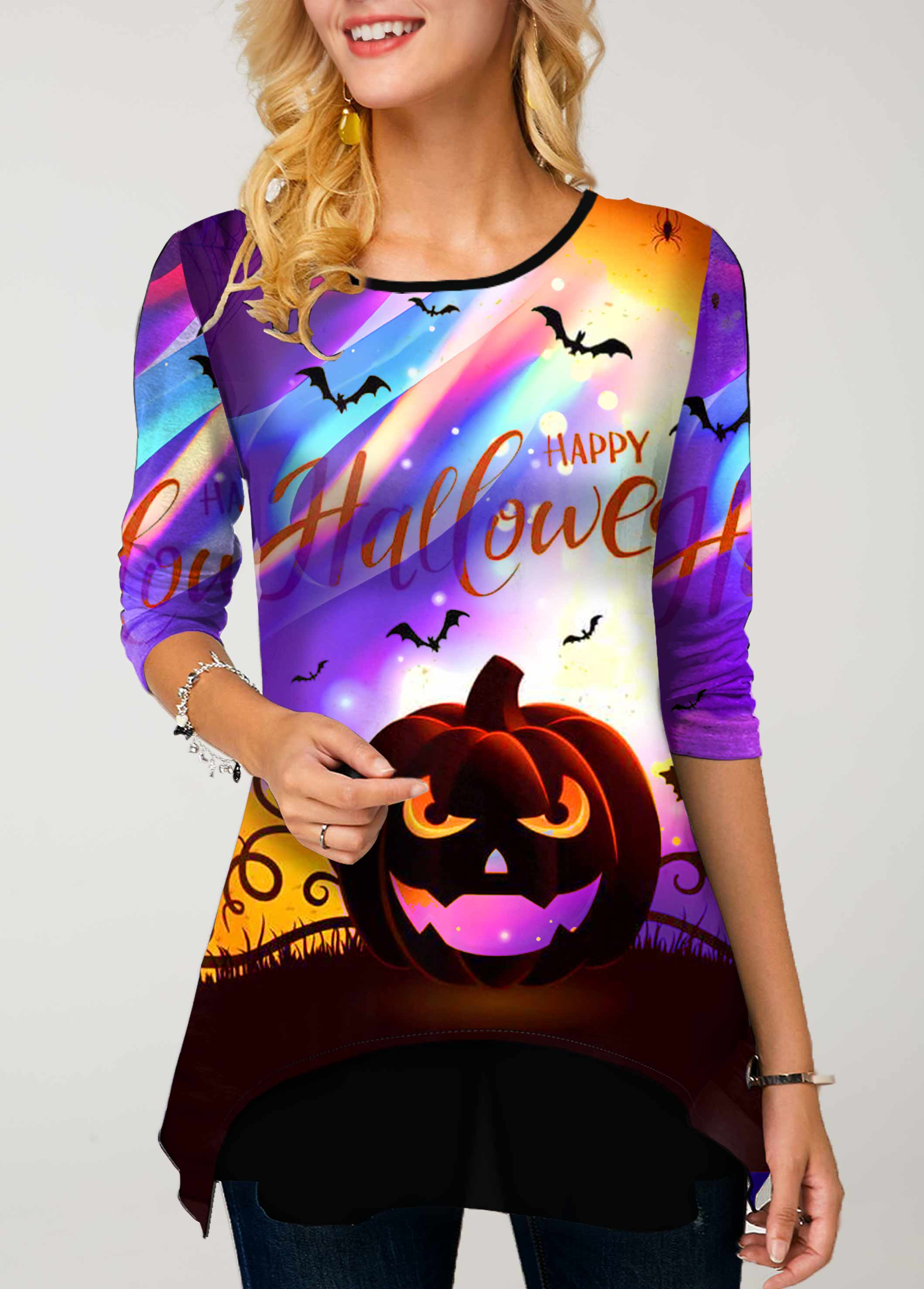 Long Sleeve Halloween Print Rainbow Color T Shirt