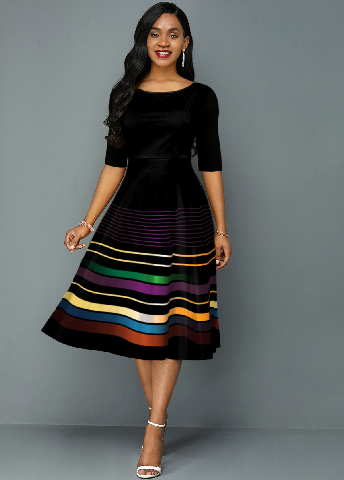 Rainbow Stripe Round Neck A Line Dress