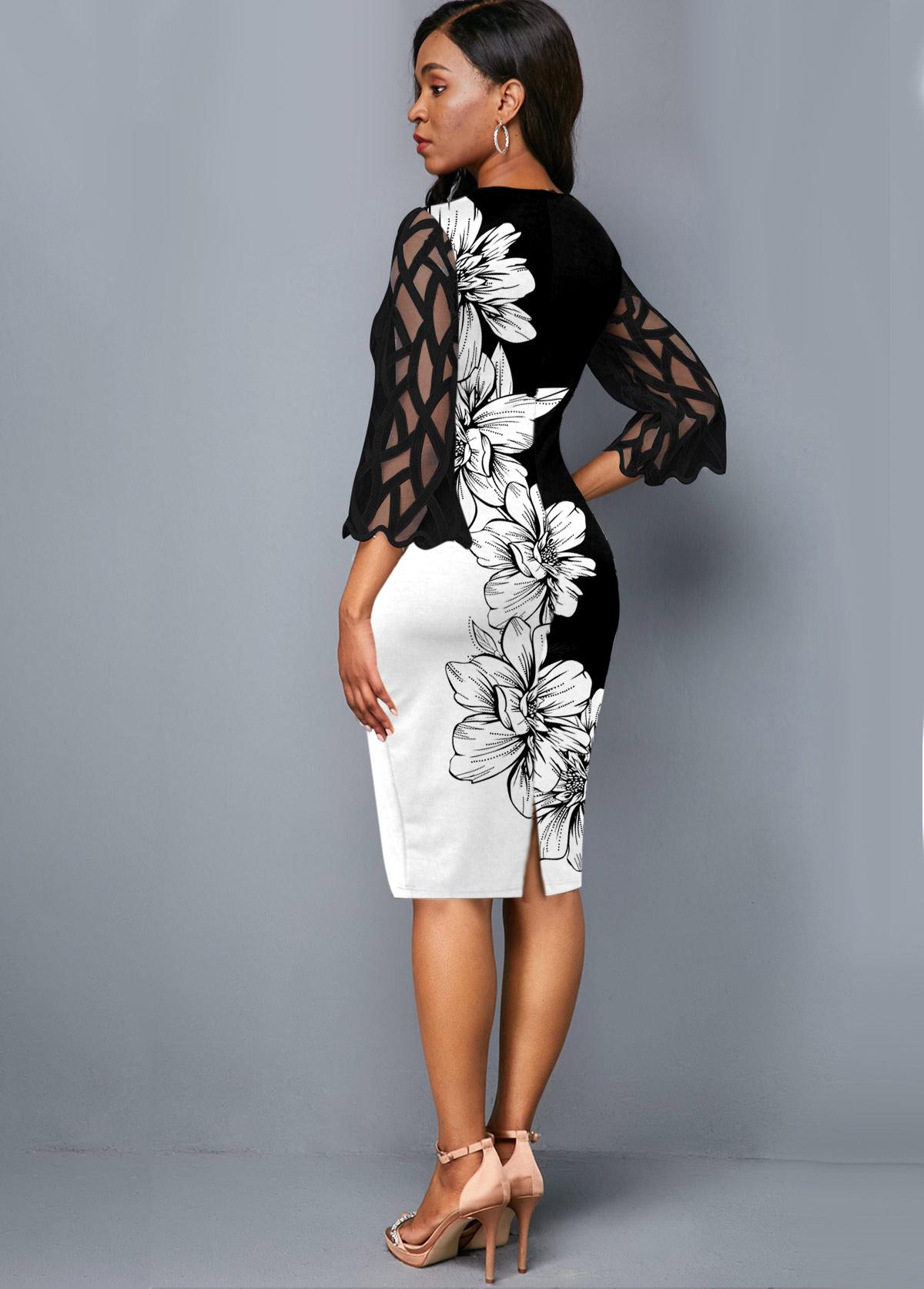 Round Neck Floral Print Mesh Panel Dress