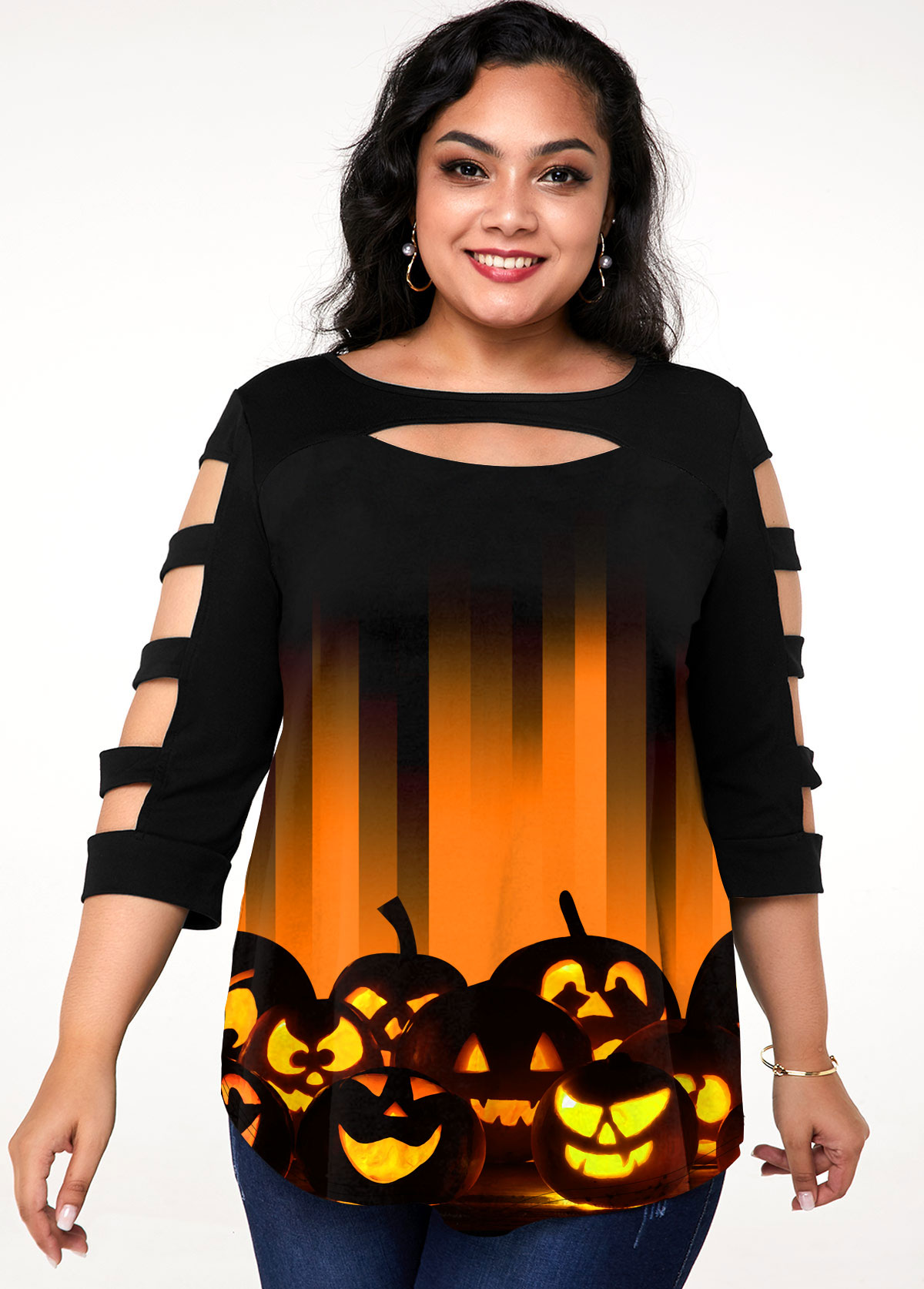 Halloween Print Ladder Cutout Plus Size T Shirt