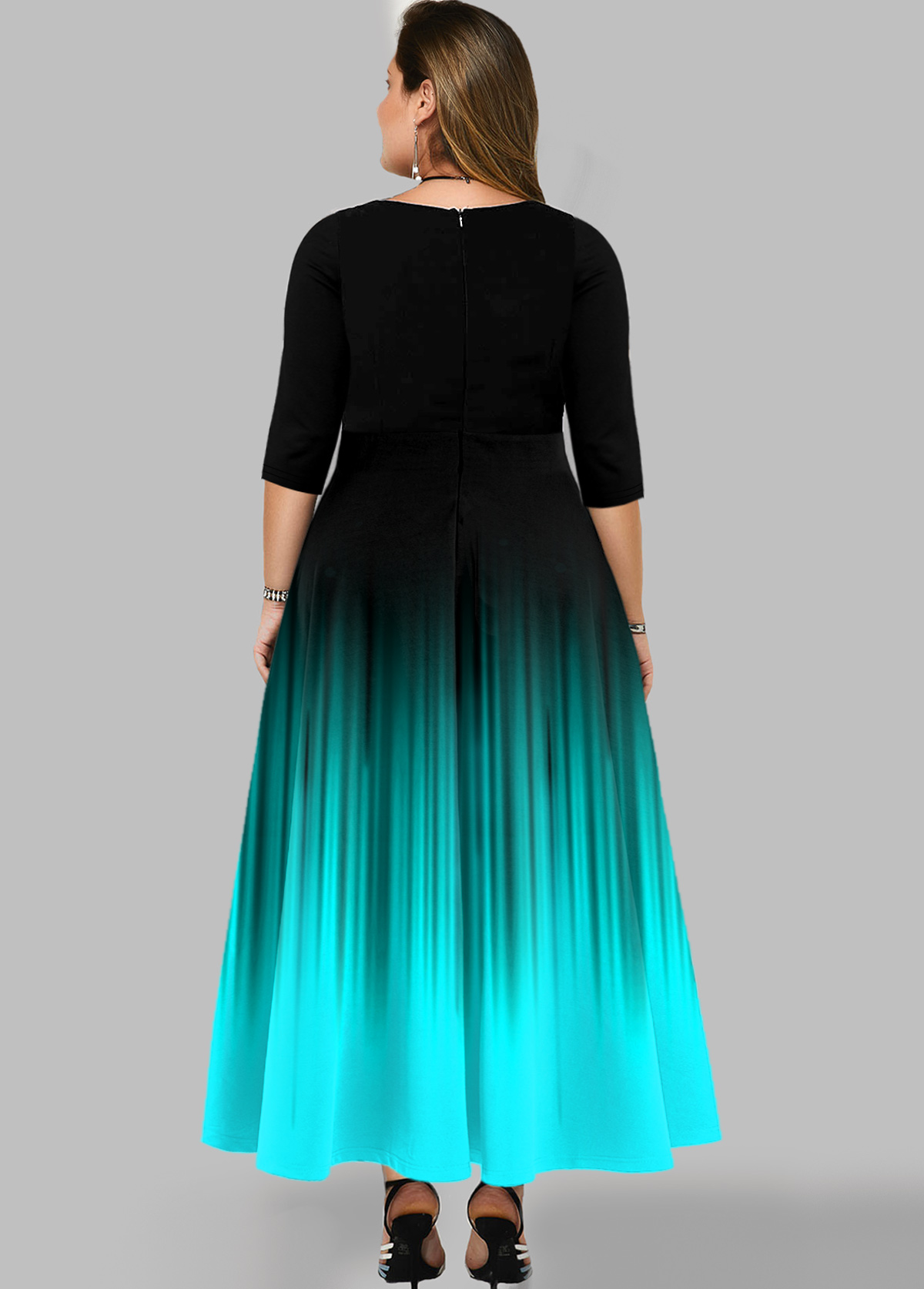 Printed Ombre Plus Size Maxi Dress