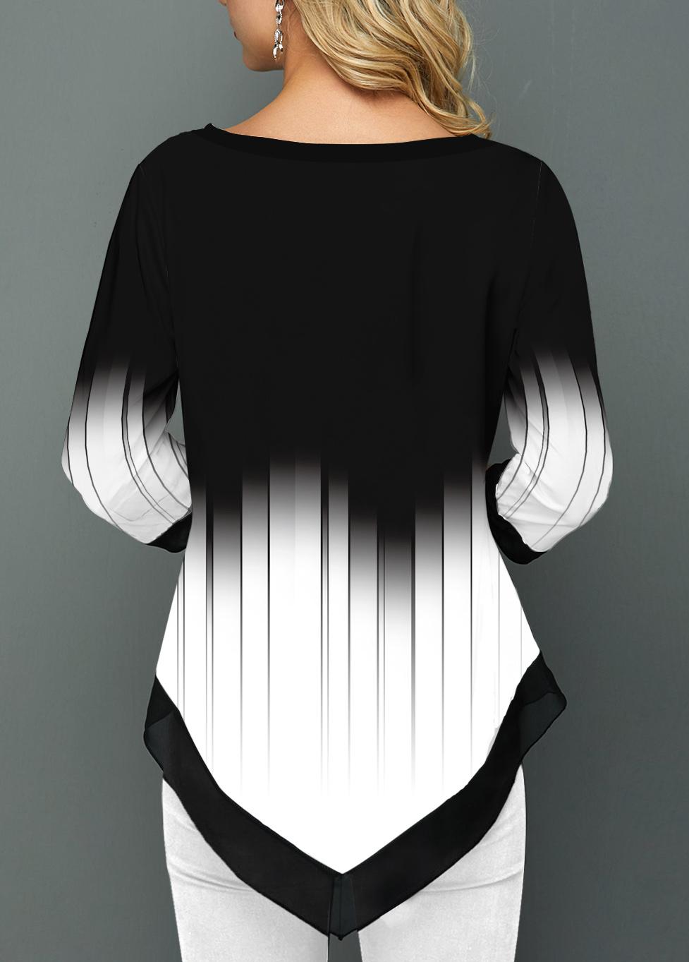 Split Neck Asymmetric Hem Printed Ombre Blouse