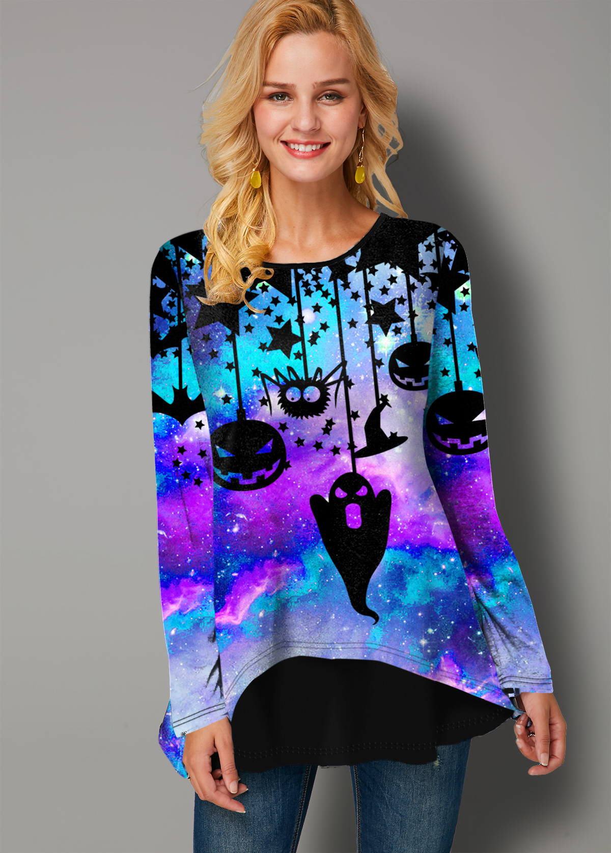 Long Sleeve Halloween Print Faux Two Piece T Shirt