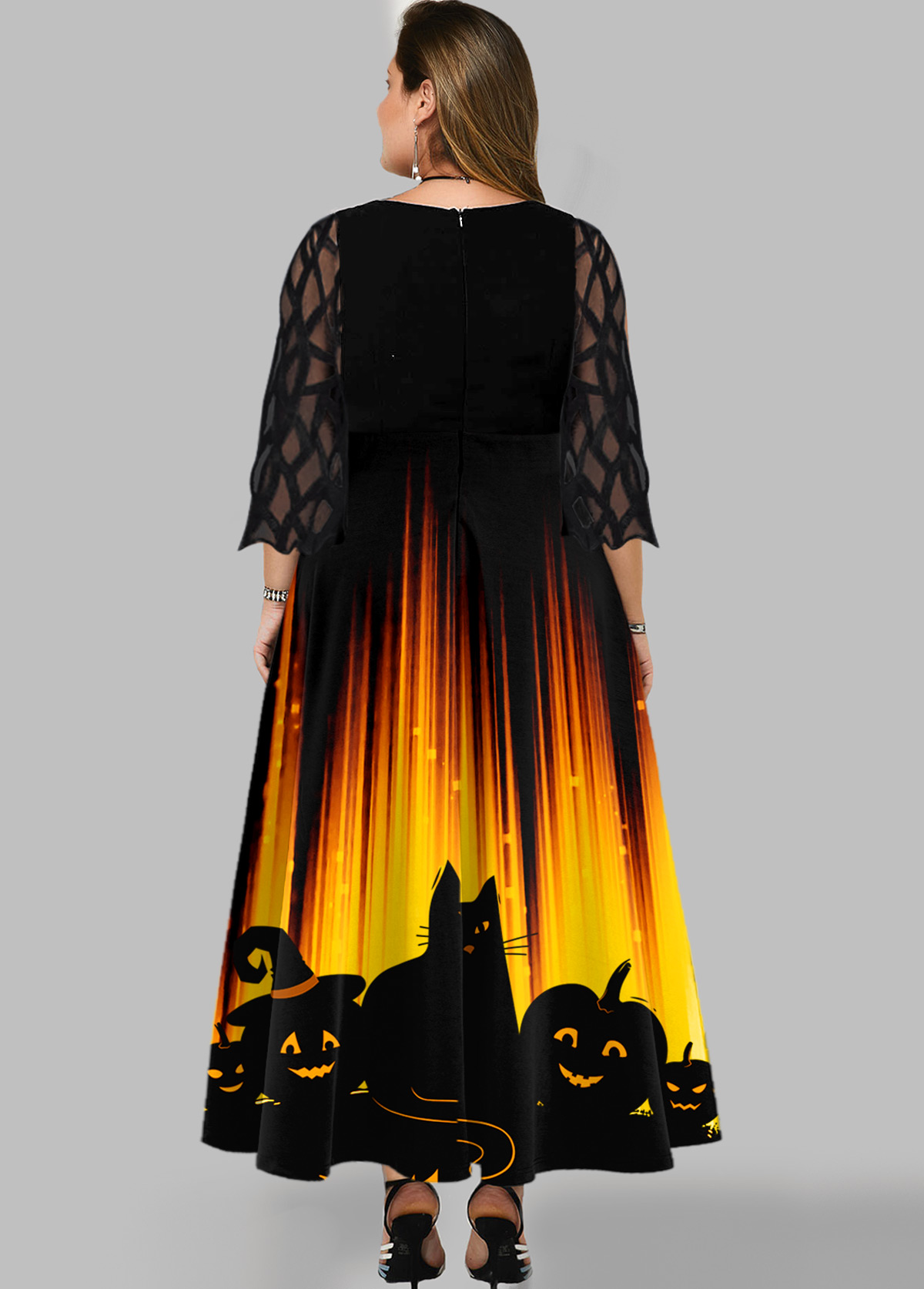 Halloween Print Mesh Panel Plus Size Dress