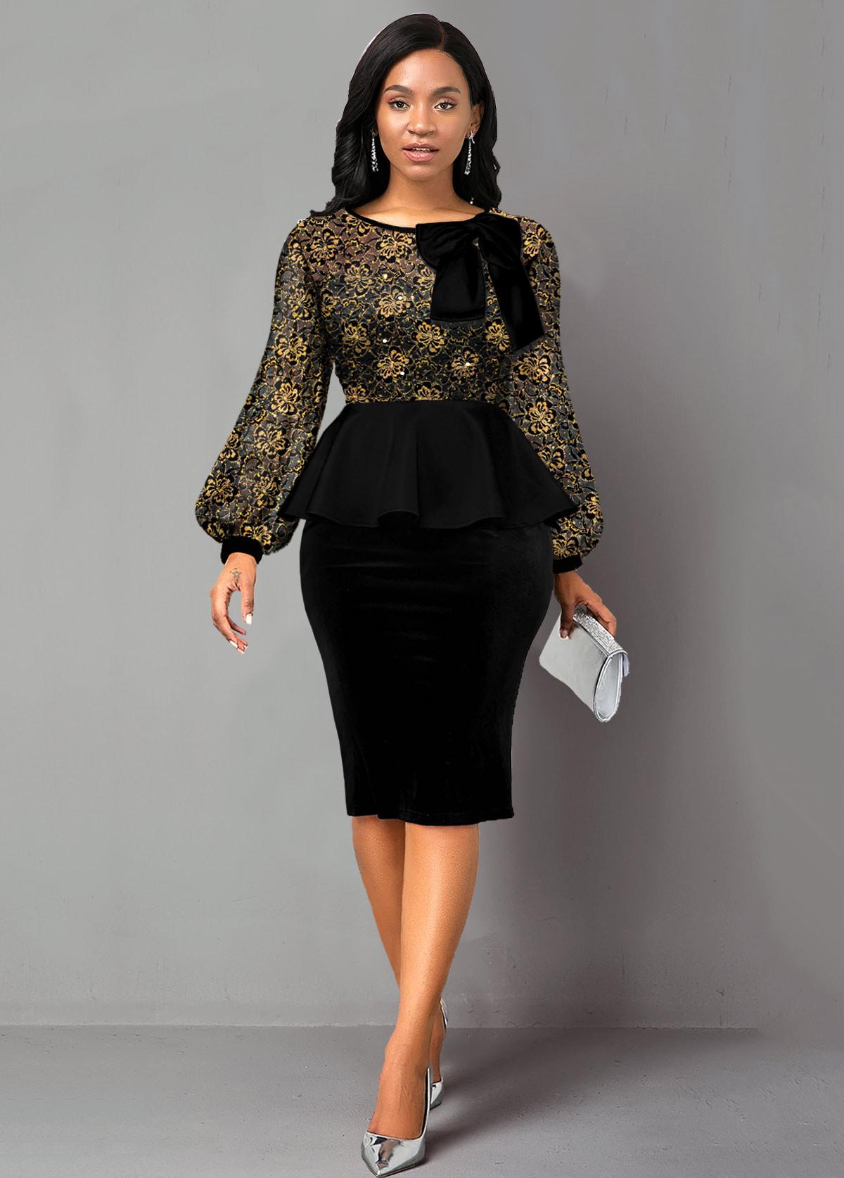 Bowknot Lace Panel Sequin Peplum Waist Dress