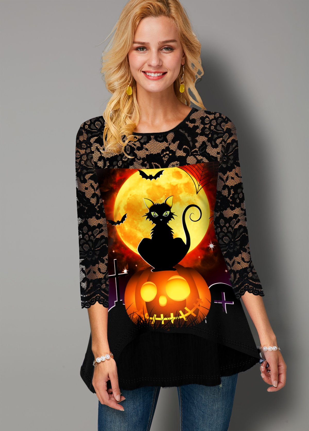 Round Neck Halloween Print Lace Panel T Shirt