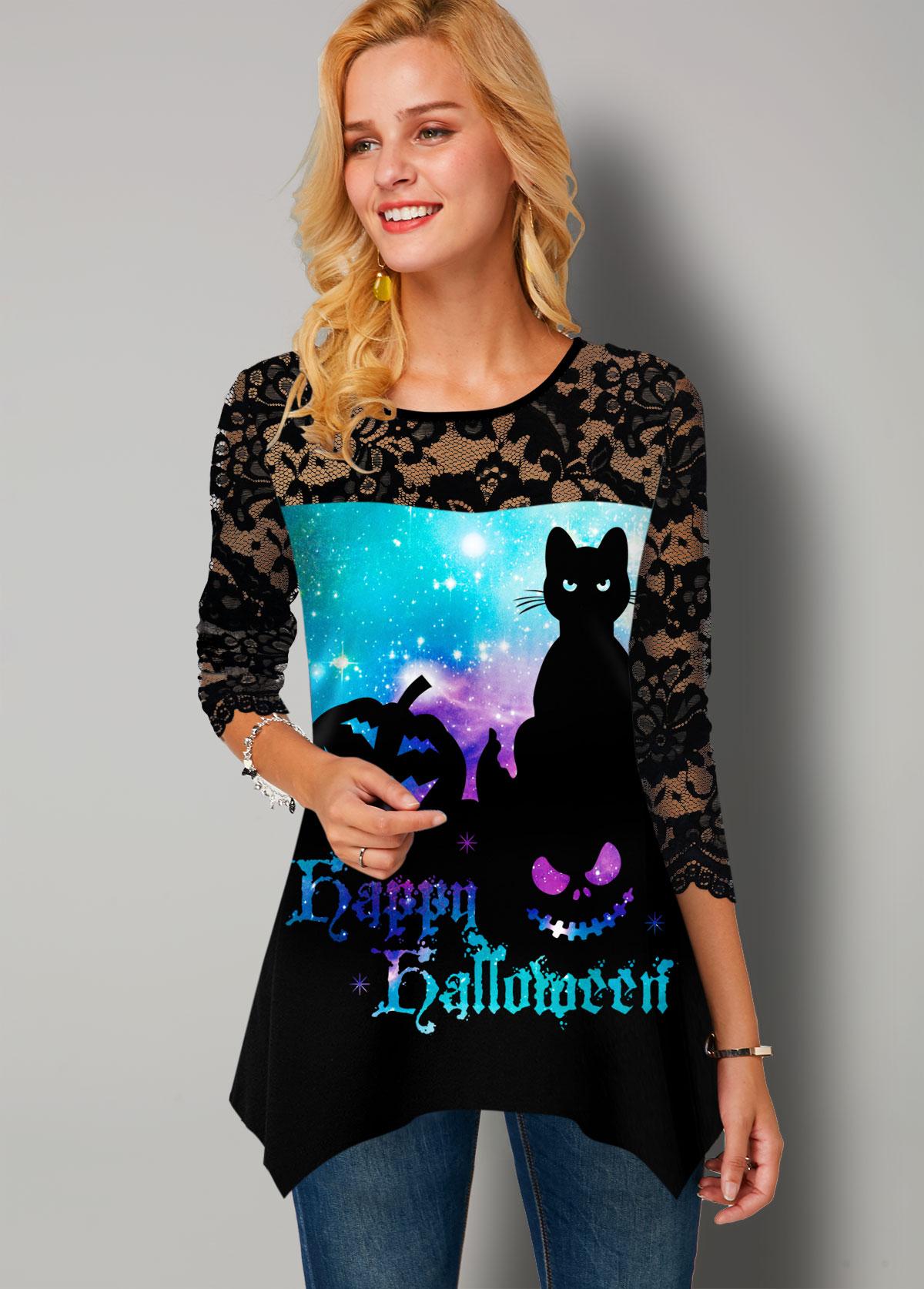 Halloween Starry Night Print Lace Panel T Shirt