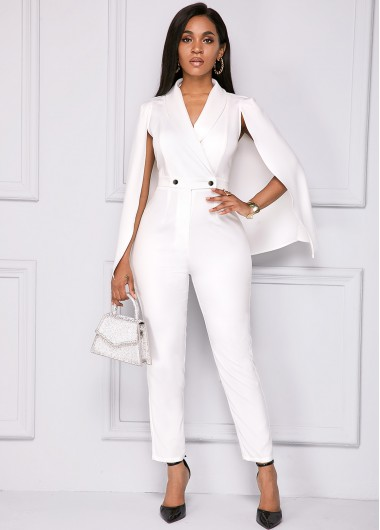 Rosewe coupon: Rosewe Women White Cape Sleeve V Neck Formal Jumpsuit Solid Color Skinny Long Sleeve Wedding Guest Jumpsuit - XL