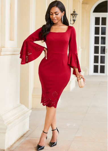 Pierced Flare Sleeve Square Collar Dress