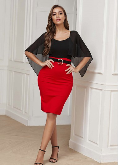 Buckle Detail Cape Sleeve Cold Shoulder Dress