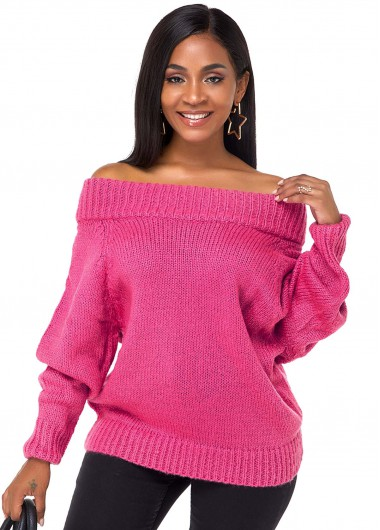 Rose Red Off the Shoulder Long Sleeve Sweater