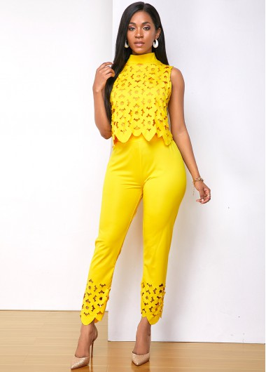 Mock Neck Pierced Sleeveless Top and Pants