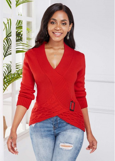 Buckle Detail Plunging Neck Crossover Hem Sweater