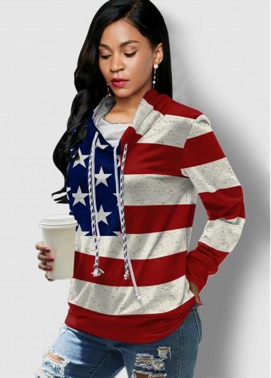 Rosewe Long Sleeve American Flag Print Drawstring Sweatshirt - XL