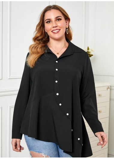Long Sleeve Plus Size Inclined Button Blouse