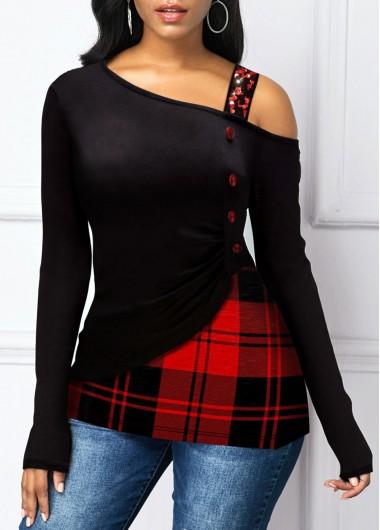 Sequin Strap Button Detail Plaid Print T Shirt
