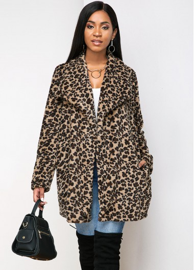 Rosewe coupon: Rosewe Women Brown Leopard Printed Open Front Turndown Collar Winter Coat With Pockets Long Sleeve Longline Coat - L