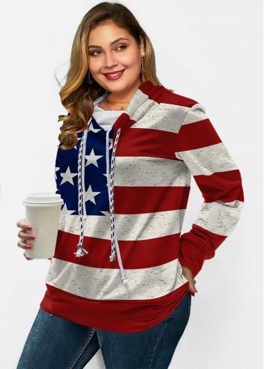American Flag Print Drawstring Long Sleeve Sweatshirt