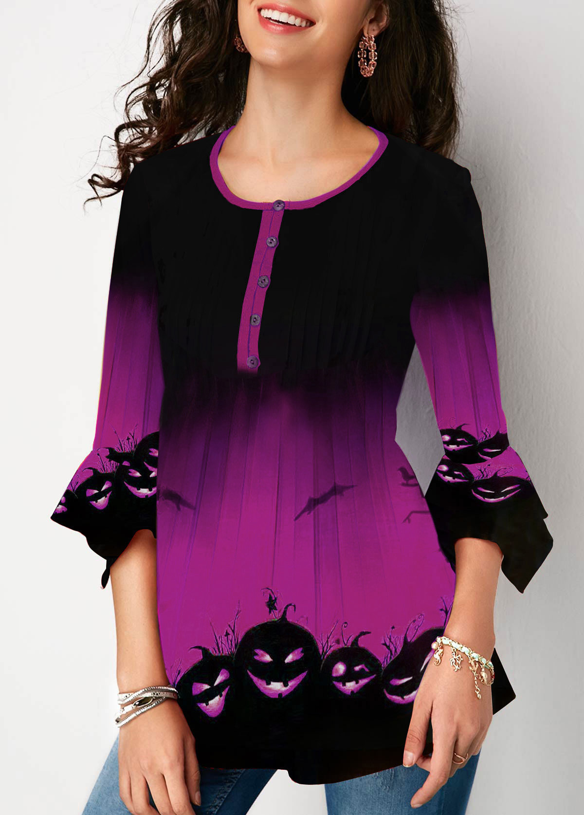 Flare Sleeve Halloween Print Button Front Blouse