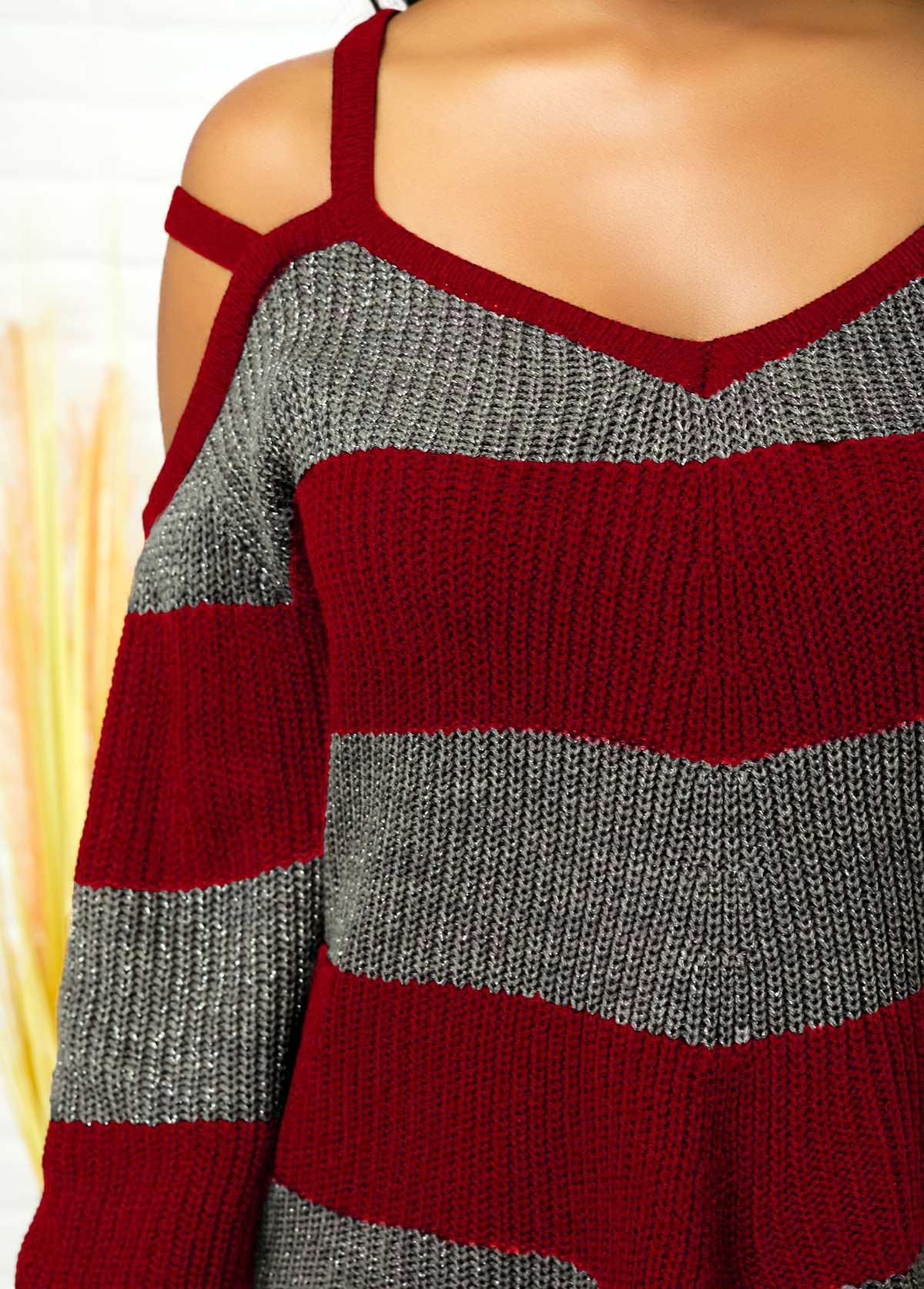 Striped Asymmetric Hem Cold Shoulder Sweater