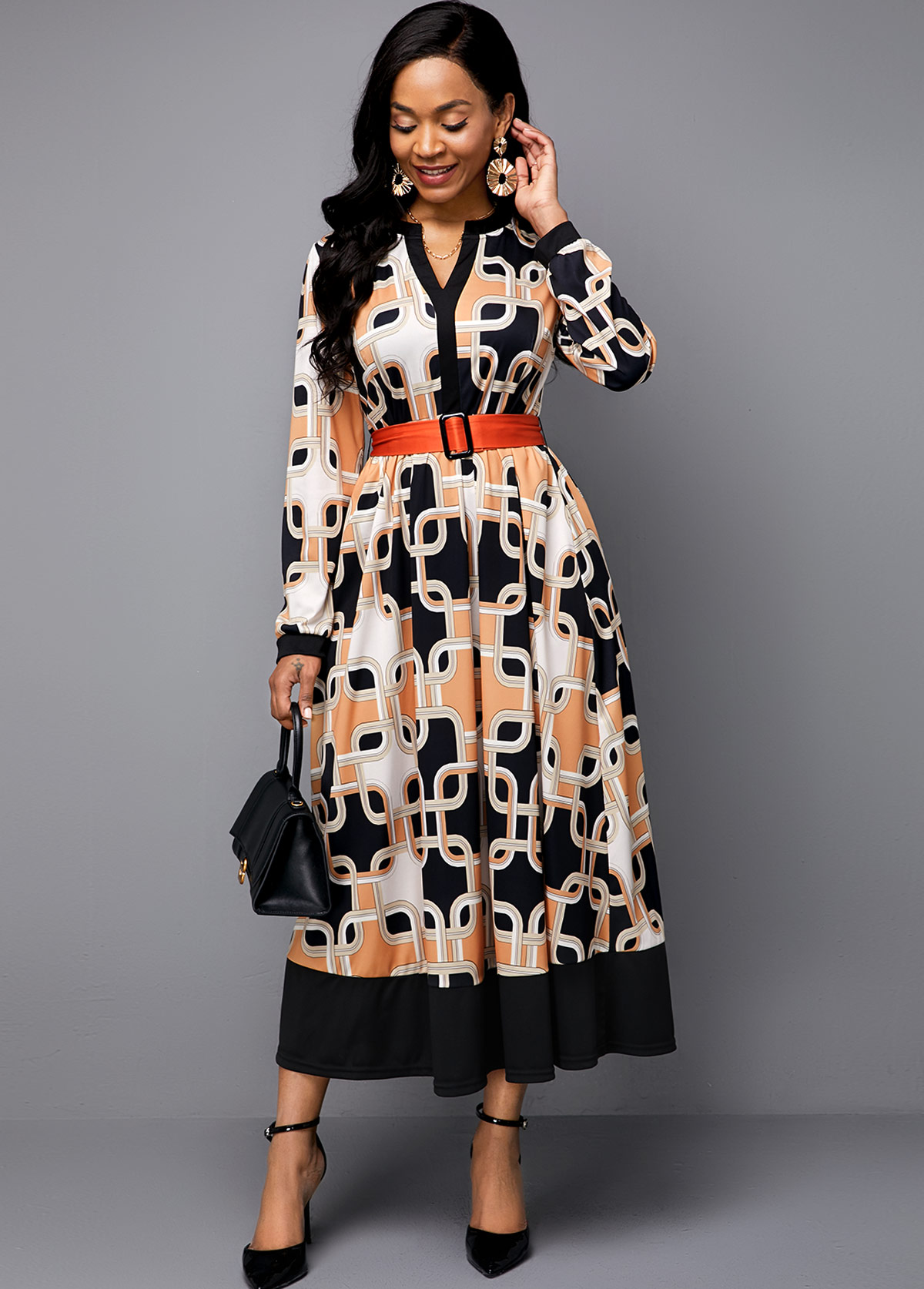 Split Neck Symmetric Print Buckle Belted Maxi Dress