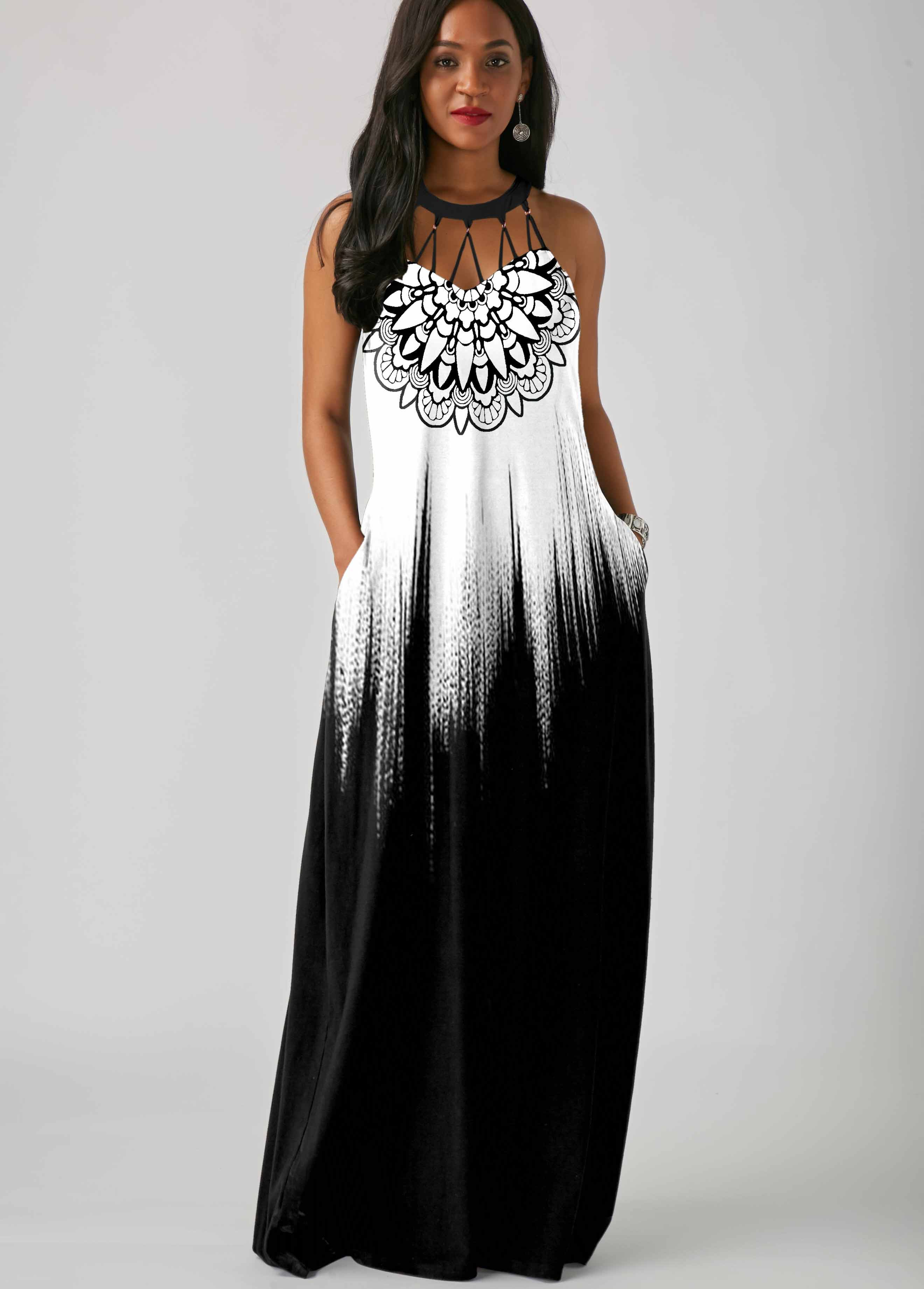Pierced Tribal Print Sleeveless Maxi Dress