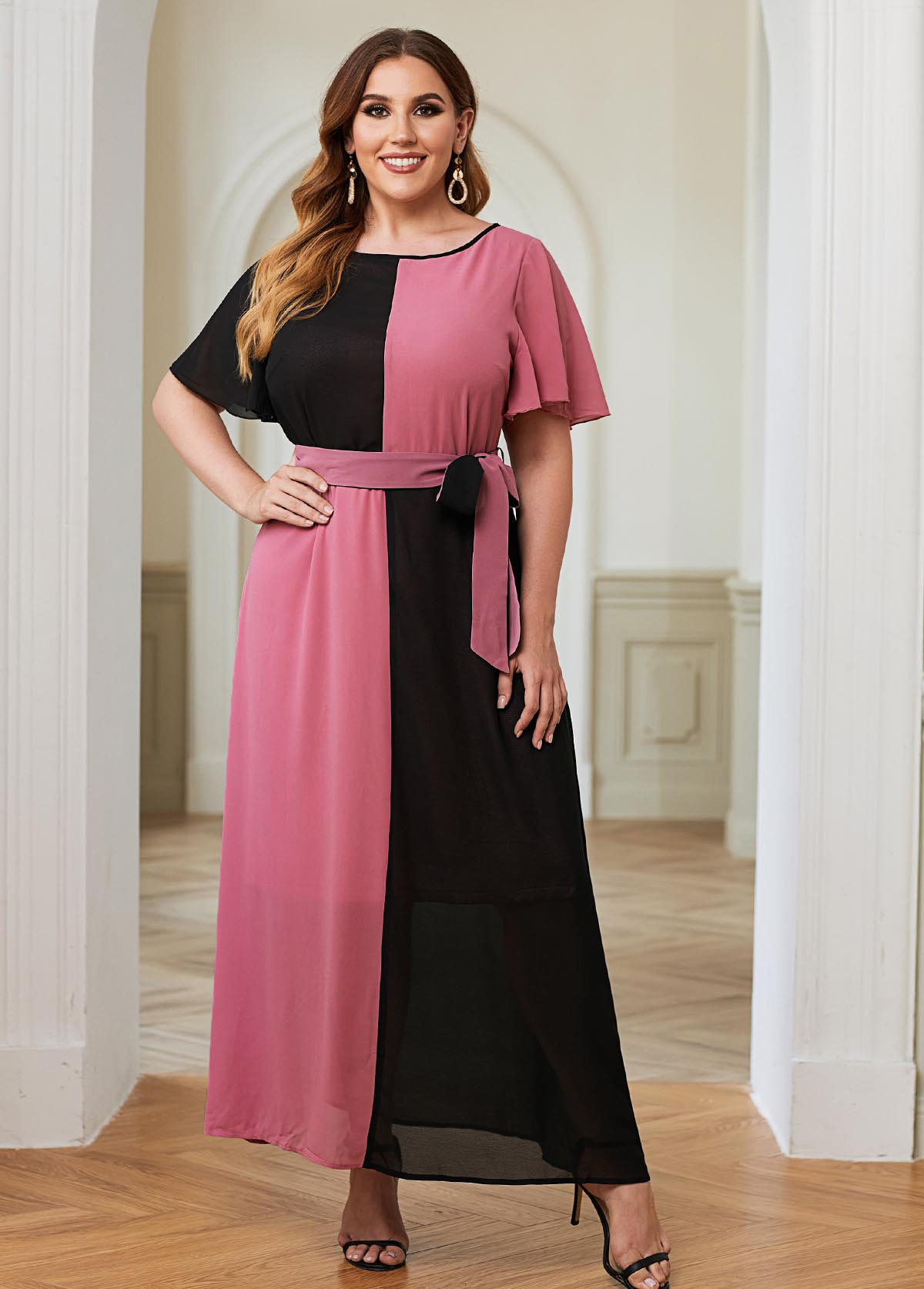 Color Block Belted Plus Size Maxi Dress
