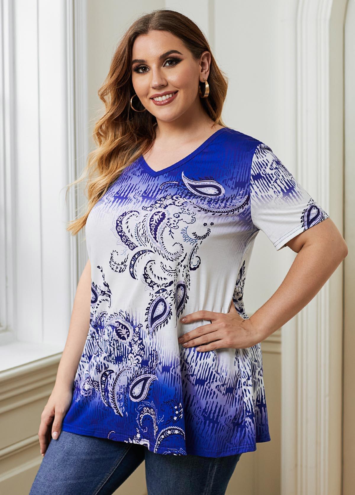 Paisley Print V Neck Plus Size T Shirt