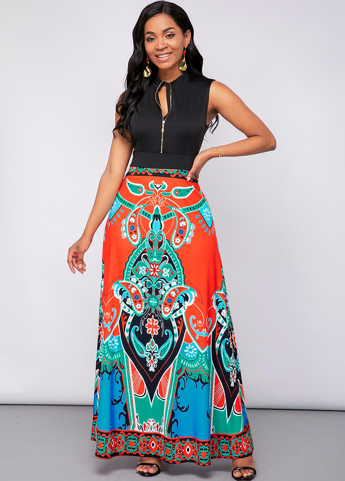 Sleeveless Tribal Print Quarter Zip Maxi Dress