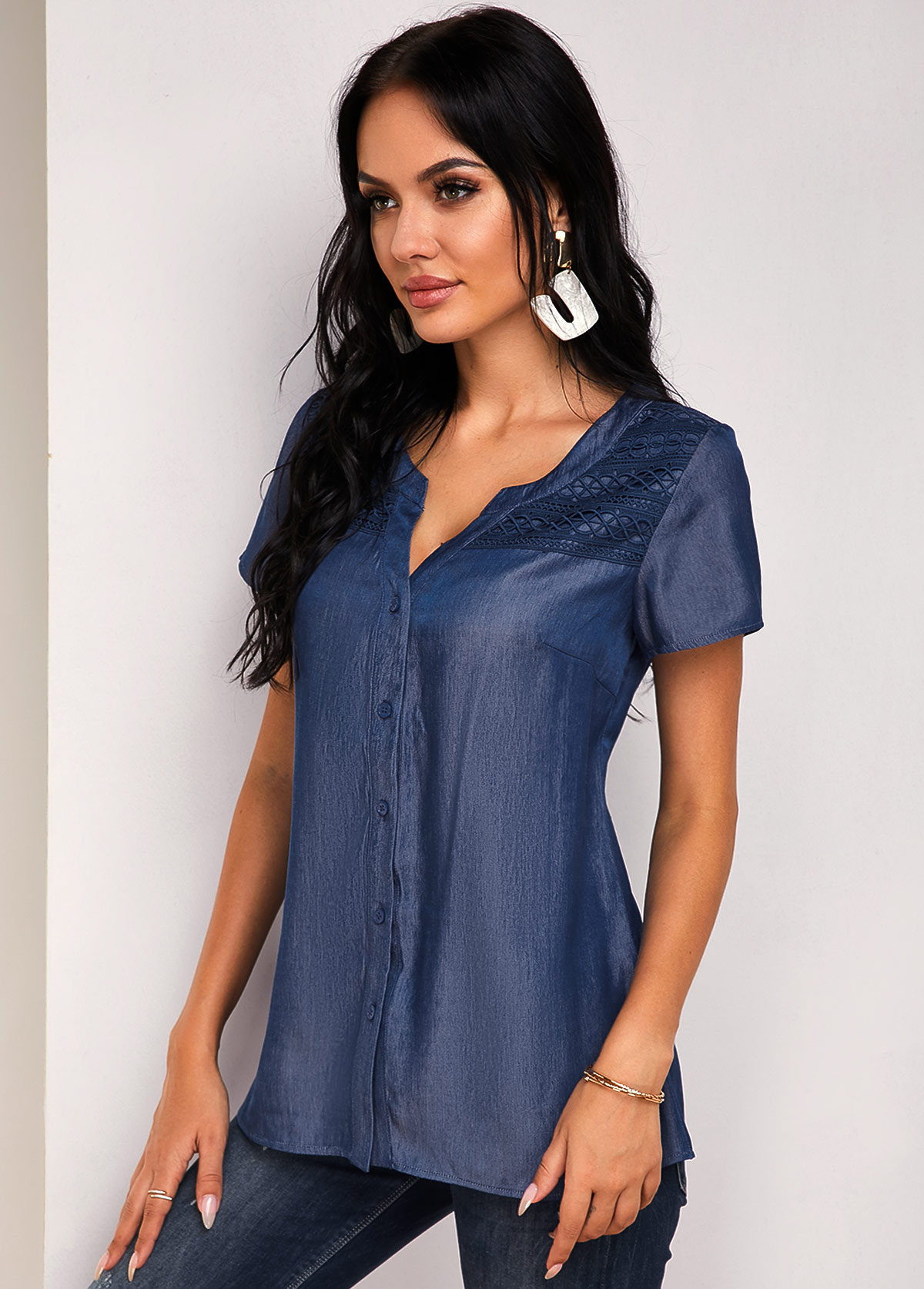 Lace Panel Short Sleeve Button Up Blouse