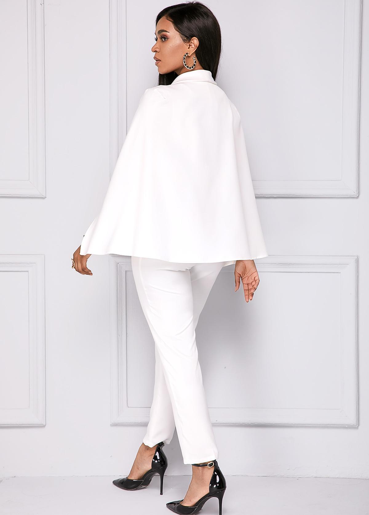 White Cape Sleeve V Neck Jumpsuit