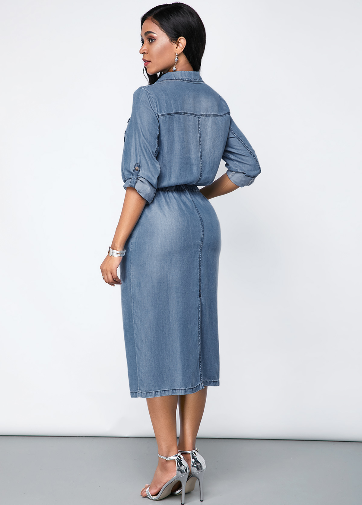 Denim Chest Pocket Turndown Collar Dress