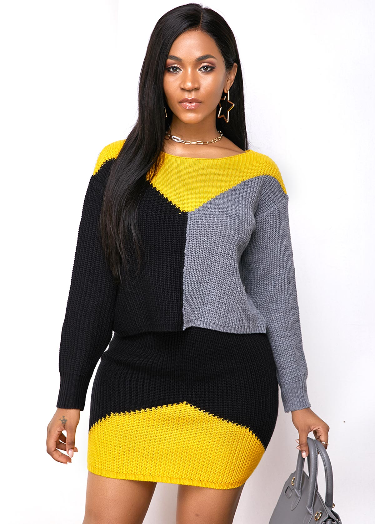 Long Sleeve Round Neck Color Block Sweater Dress