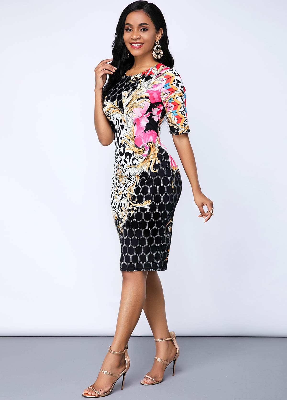 Leopard and Geometric Print Round Neck Dress