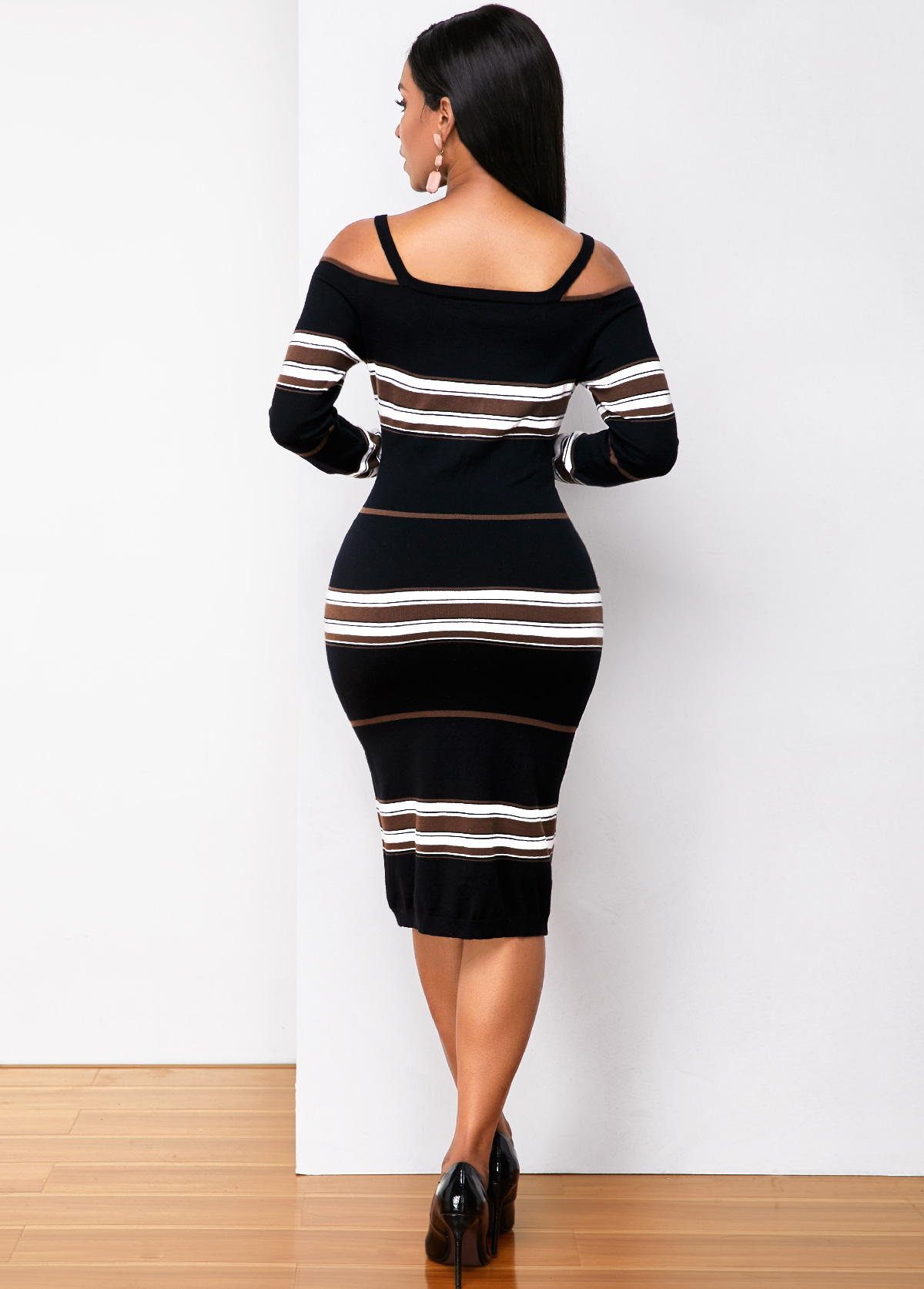 Striped Quarter Zip Strappy Cold Shoulder Sweater Dress