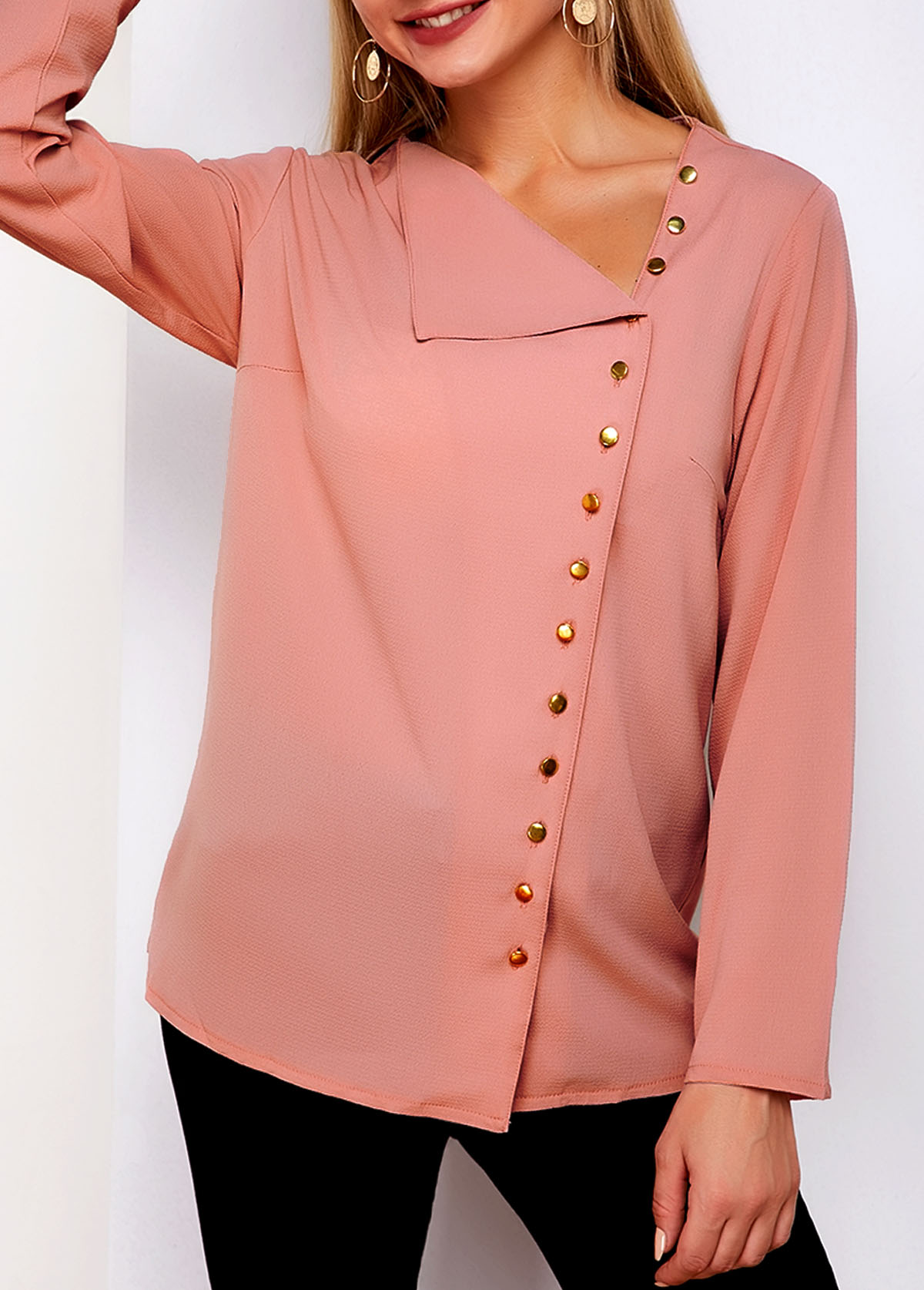 Long Sleeve Inclined Button Oblique Collar Blouse