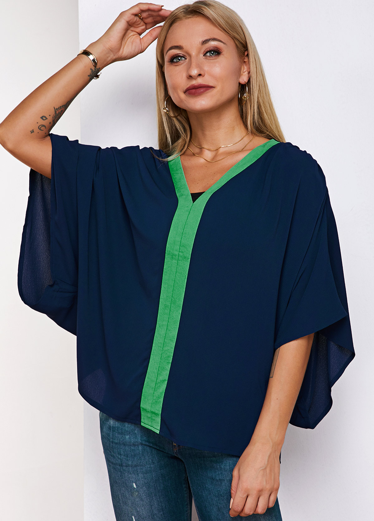 Tube Top and V Neck Contrast Stitch Batwing Sleeve Blouse