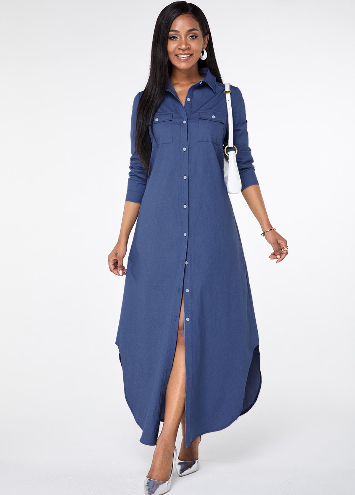 Pocket Button Up Asymmetric Hem Maxi Dress