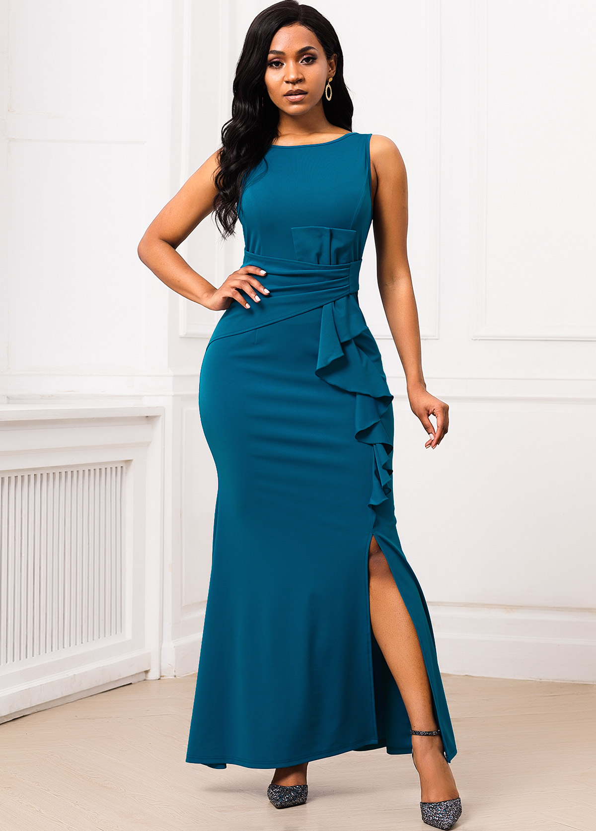 V Back Side Slit Ruffle Trim Mermaid Dress