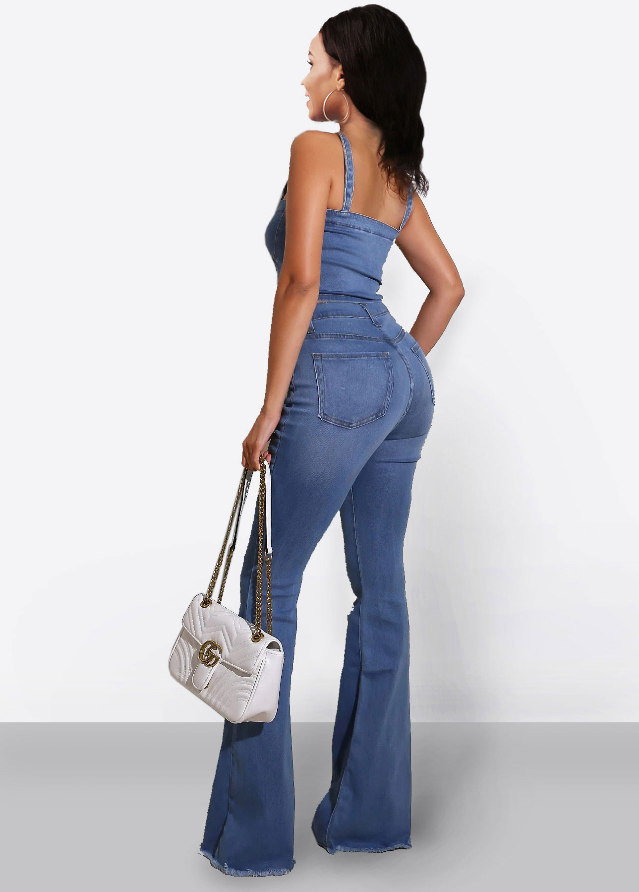 Denim Button Up Spaghetti Strap Cami and Flare Pants