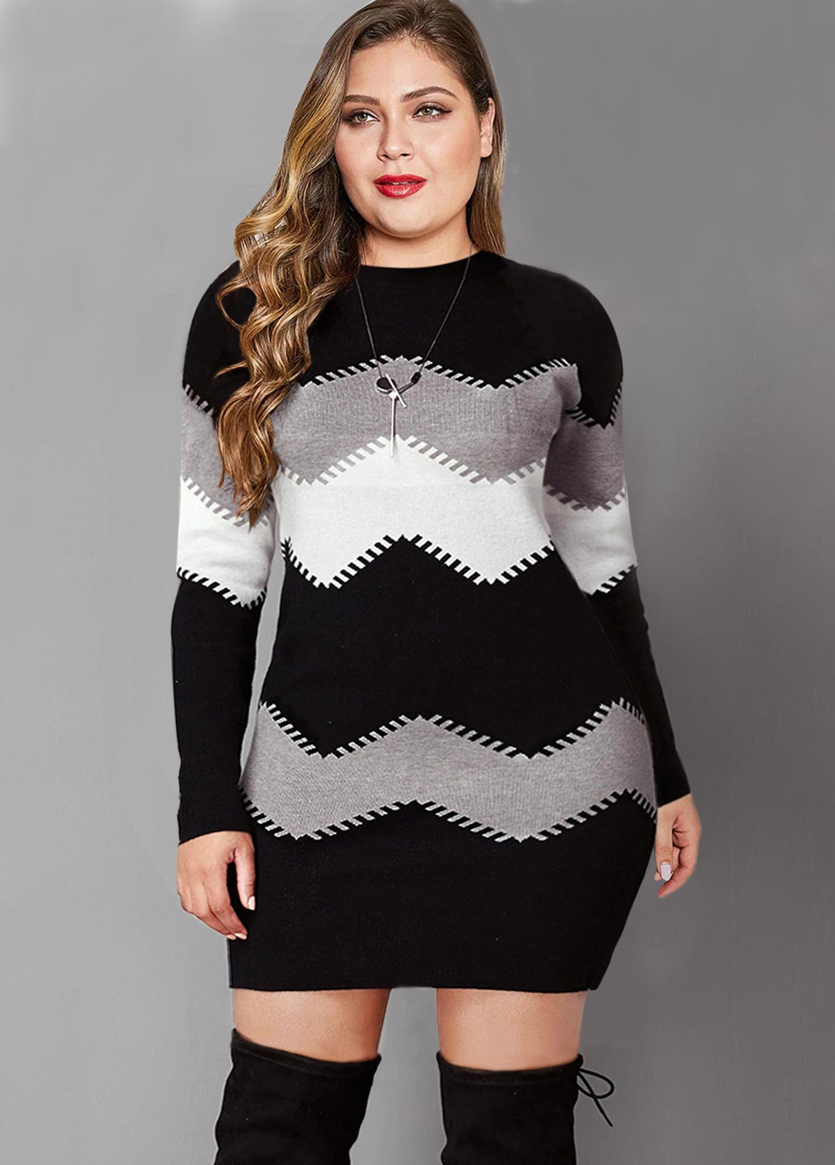 Color Block Long Sleeve Plus Size Sweater Dress