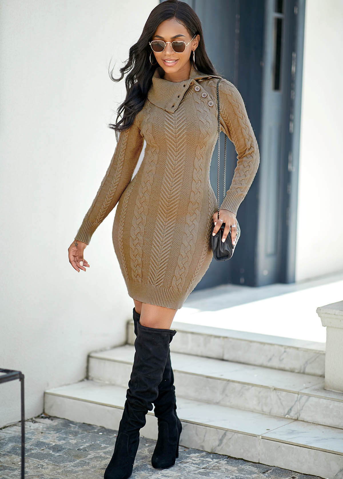 Button Detail Cable Knit Long Sleeve Sweater Dress