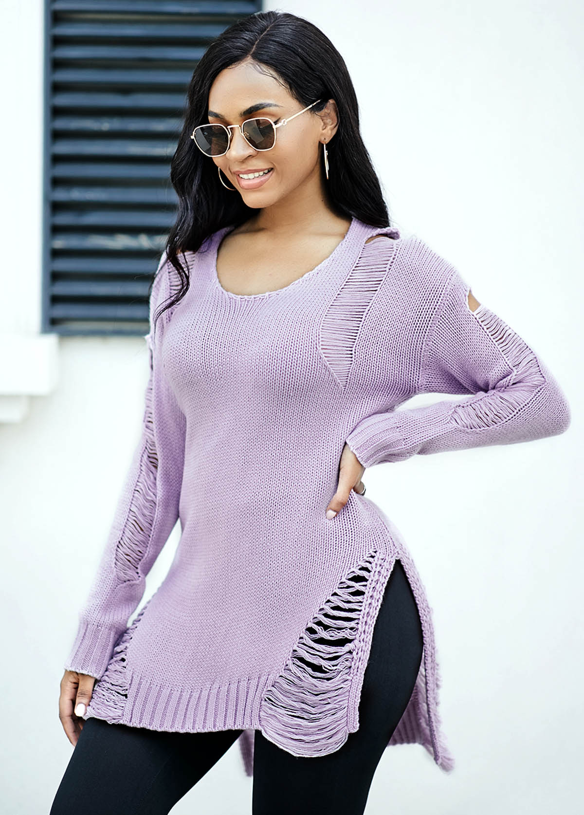 Asymmetric Hem Draped Fringe Long Sleeve Sweater