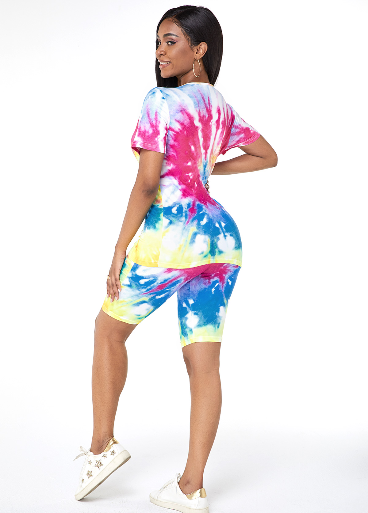 Tie Dye Print Round Neck Top and Shorts