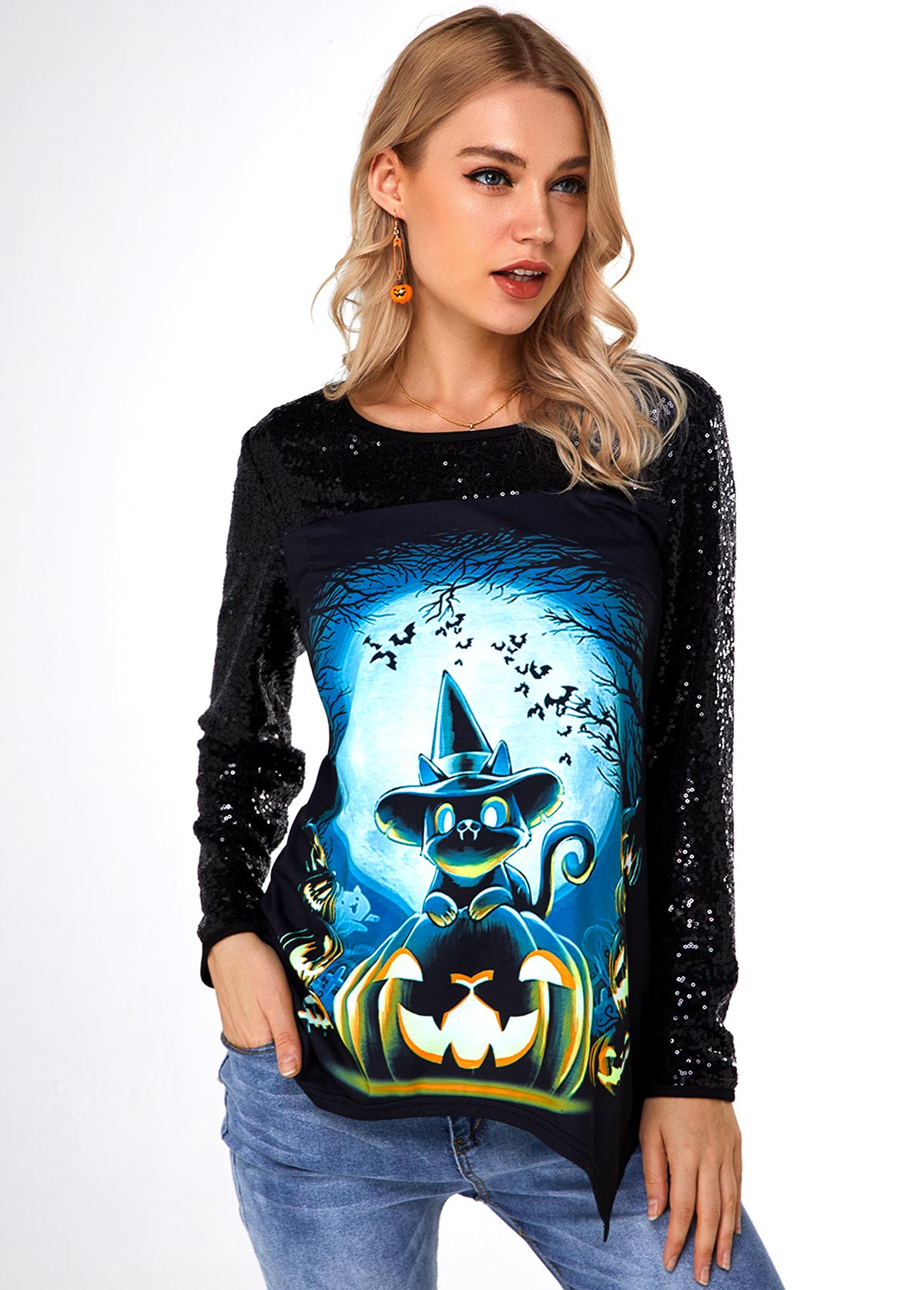 Sequin Halloween Print Asymmetric Hem T Shirt