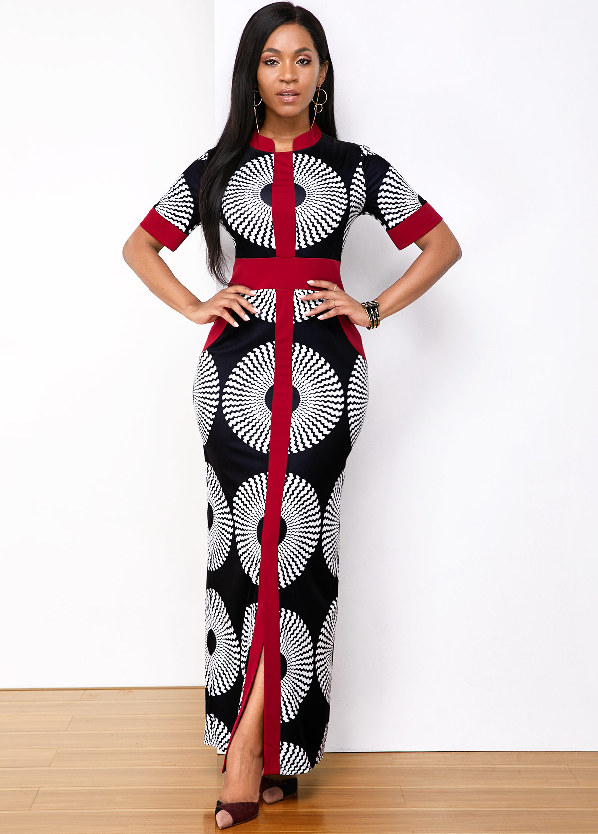 Printed Side Pocket Front Slit Maxi Dress