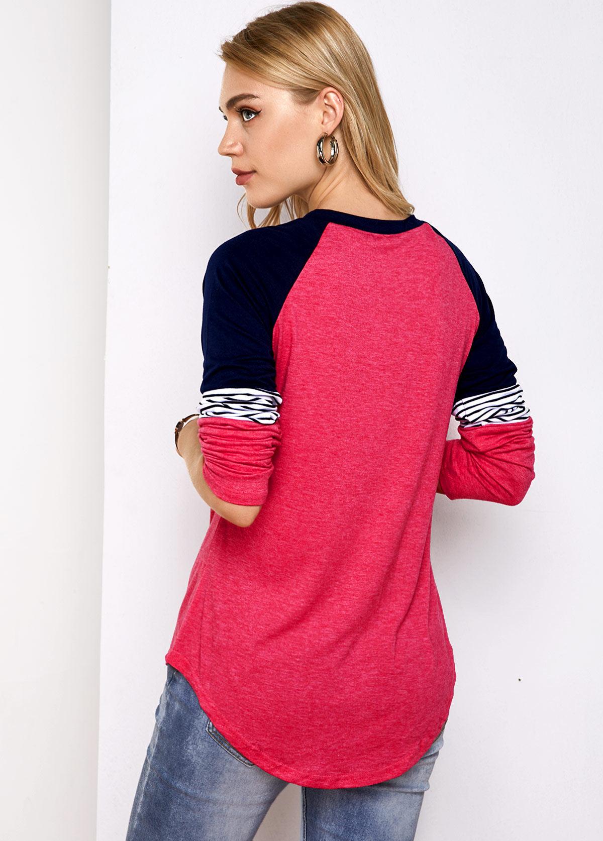 Contrast Round Neck Stripe Print T Shirt