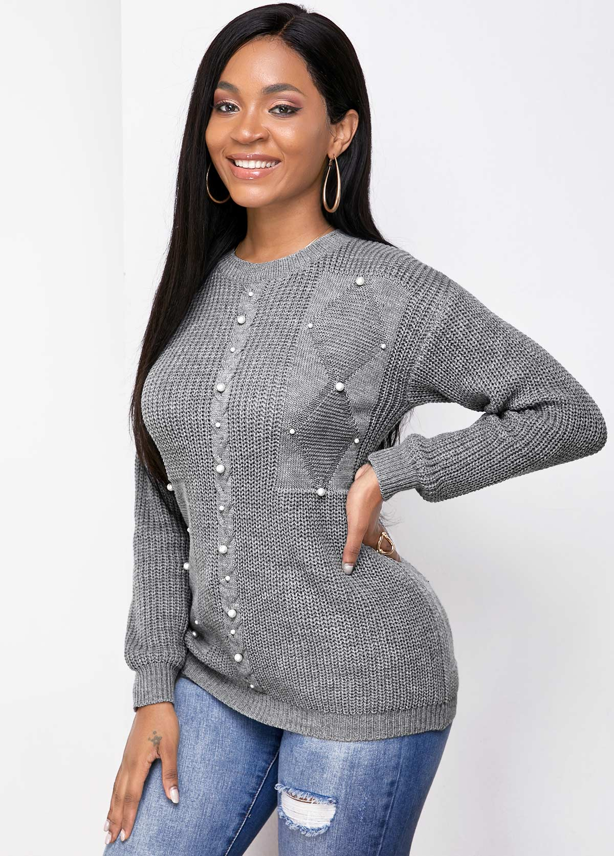 Round Neck Long Sleeve Pearl Detail Sweater
